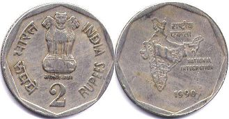 coin India 2 rupees 1990