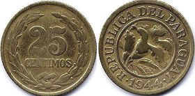 coin Paraguay 25 centimos 1944