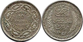 piece Tunisia 10 francs 1939