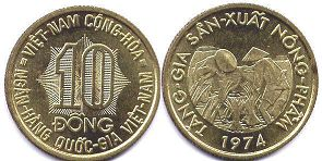 coin South Viet Nam 10 dong 1974