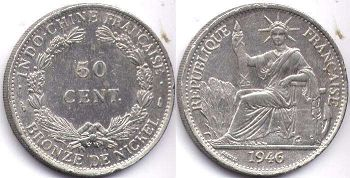 coin French Indochina 50 cents 1946