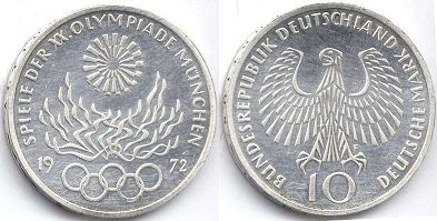coin Germany 10 mark 1972