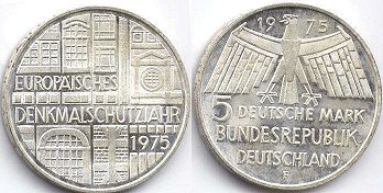 coin Germany 5 mark 1975