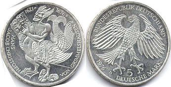 coin Germany 5 mark 1976