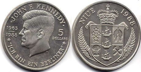 coin Niue 5 dollars 1988