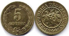 coin Paraguay 5 centimos 1944