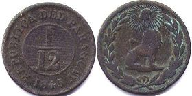 coin Paraguay 1/12 real 1845