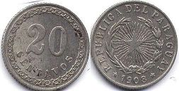 coin Paraguay 20 centavos 1908