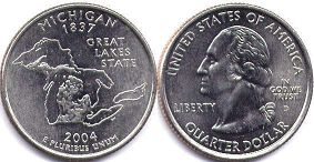 coin US commemorative coin 1/4 dollar 2004 state quarter Michigan