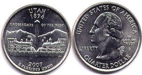 coin US commemorative coin 1/4 dollar 2007 state quarter Utah