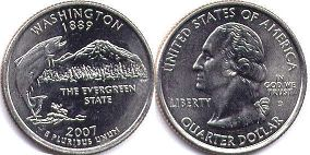 coin US commemorative coin 1/4 dollar 2007 state quarter Washington