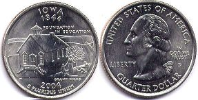 coin US commemorative coin 1/4 dollar 2004 state quarter Iowa