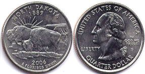 coin US commemorative coin 1/4 dollar 2006 state quarter North Dakota