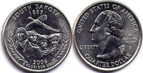 coin US commemorative coin 1/4 dollar 2005 state quarter South Dakota
