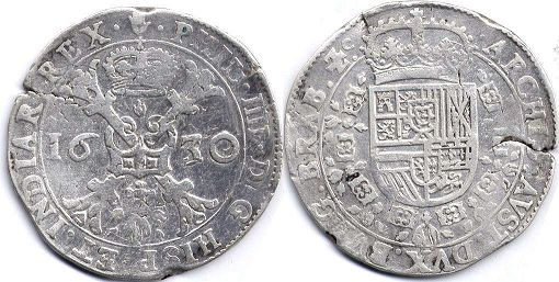 coin Spanish Netherlands patagon 1630