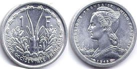 coin French West Africa 1 franc 1948