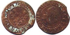 coin France  double denier 1633