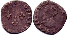 coin France double denier 1590
