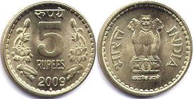 coin India 5 rupees 2009
