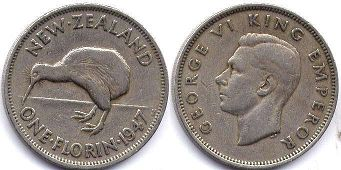 coin New Zealand 1 florin 1947