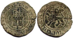 coin Castile and Leon 2 maravedil 1479-1506