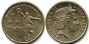 australian commemmorative coin 1 dollar 2005