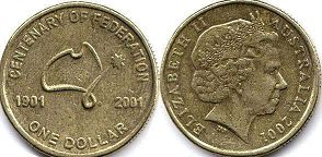 australian commemmorative coin 1 dollar 2001