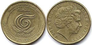 australian commemmorative coin 1 dollar 1999