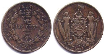 coin British North Borneo 1 cent 1889