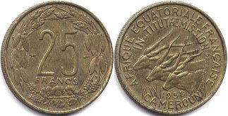 coin Cameroon 25 francs 1958