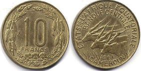coin Equatorial African States 10 francs 1961