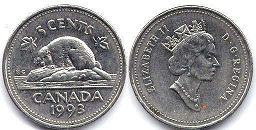 canadian coin 5 cents 1993