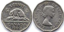 canadian coin 5 cents 1960