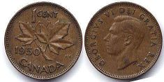 coin canadian old coin 1 cent 1950