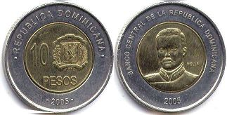 coin Dominican Republic 10 pesos 2005