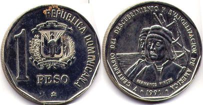 coin Dominican Republic 1 peso 1991