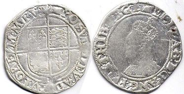 coin English old silver coin - Elizabeth I shilling