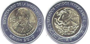 moneda Mexico 5 pesos 2008