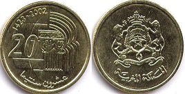 piece Morocco 20 centimes 2002