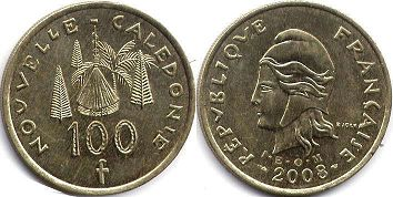 coin New Caledonia 100 francs 2008