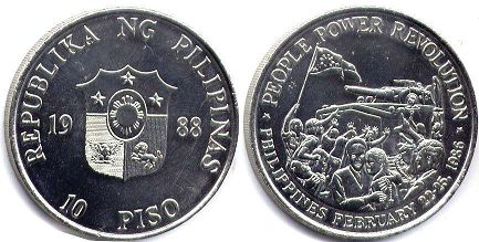 coin Philippines 10 piso 1988