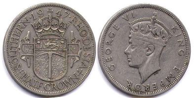 coin Rhodesia half crown 1947