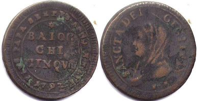 coin Papal State 5 baiocchi 1797