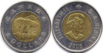 canadian coin 2 dollars 2006