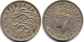 coin Cyprus 1 shilling 1947