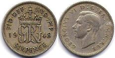 coin UK coin 6 pence 1948