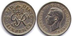 coin UK coin 6 pence 1949
