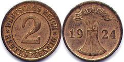coin German Weimar 2 pfennig 1924