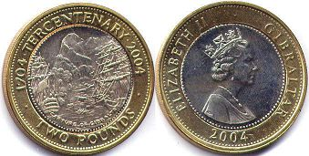 coin Gibraltar 2 pounds 2004