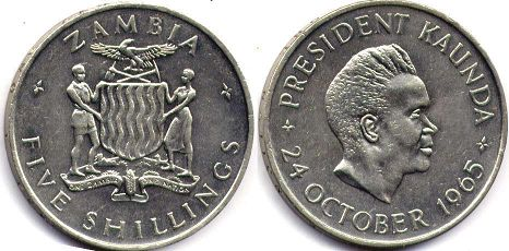 coin Zambia 5 shillings 1965